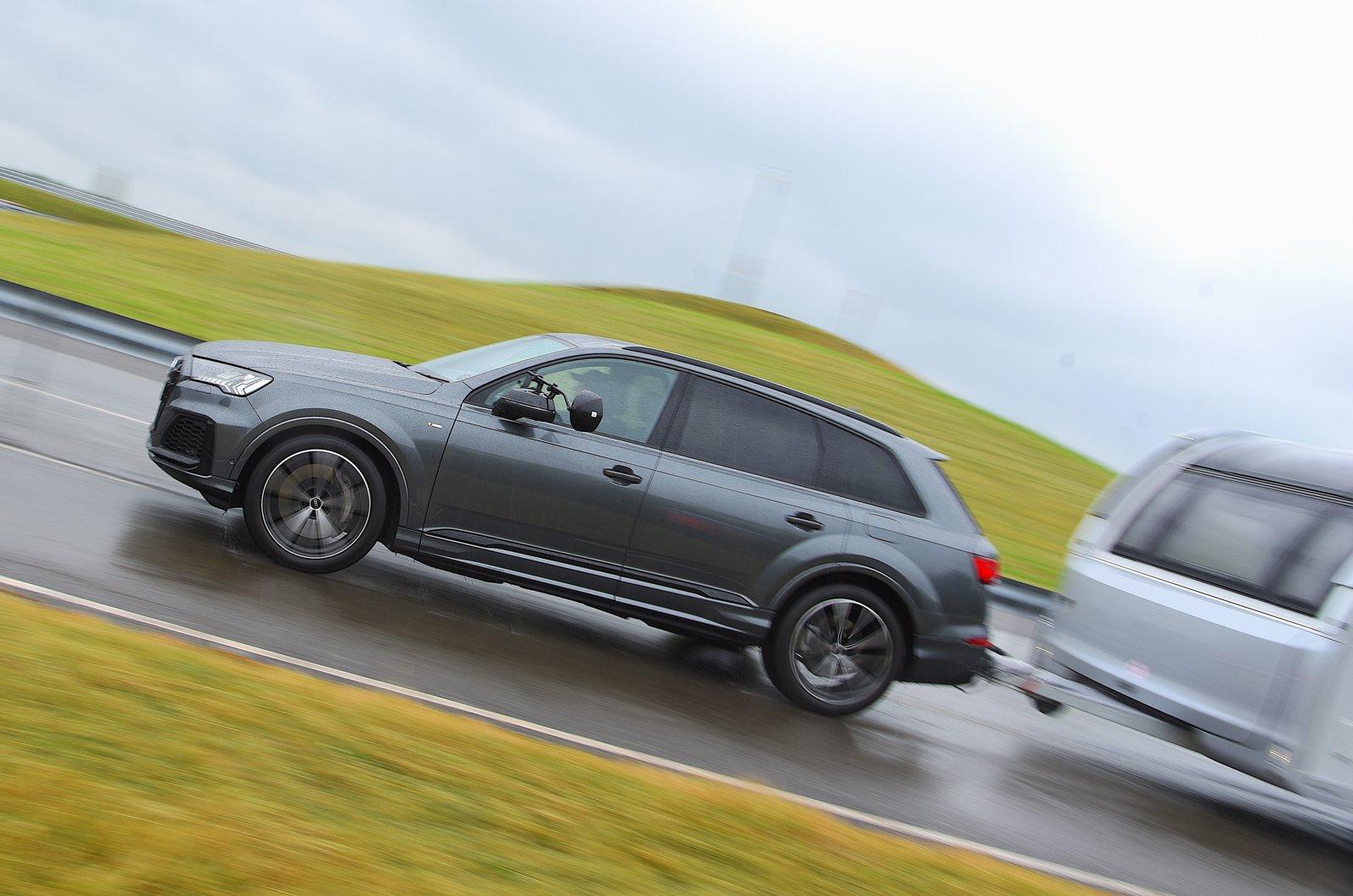 Audi Q7 pulling a caravan