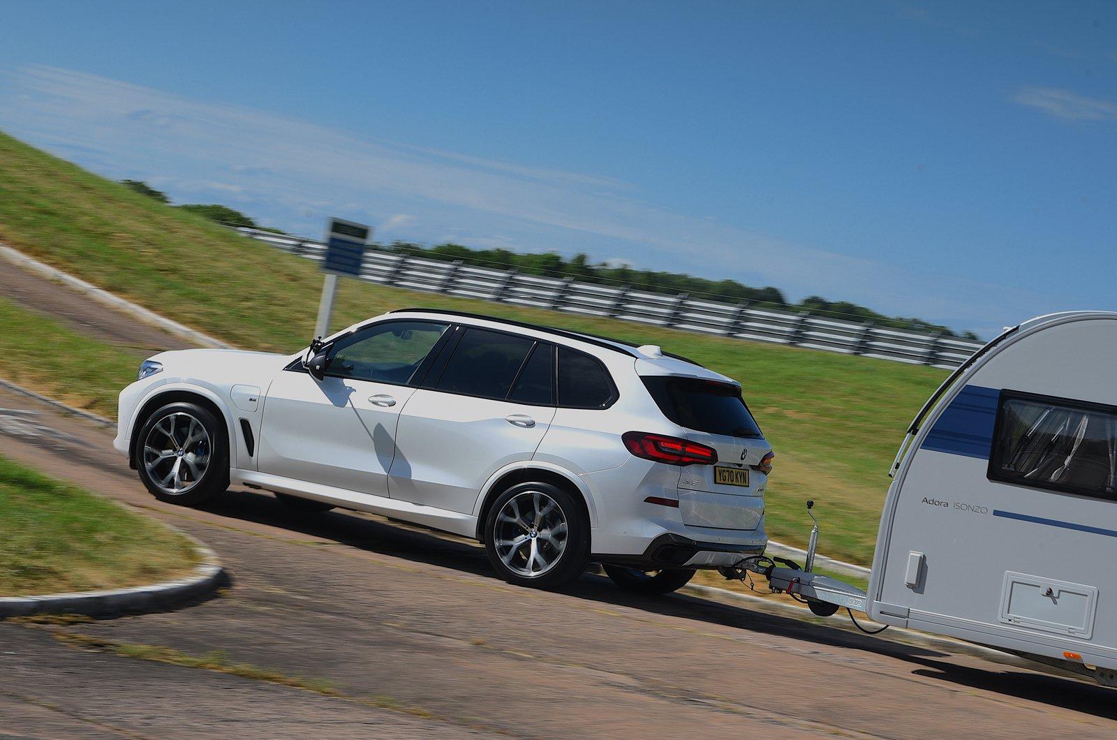 BMW X5 towing a caravan - rear