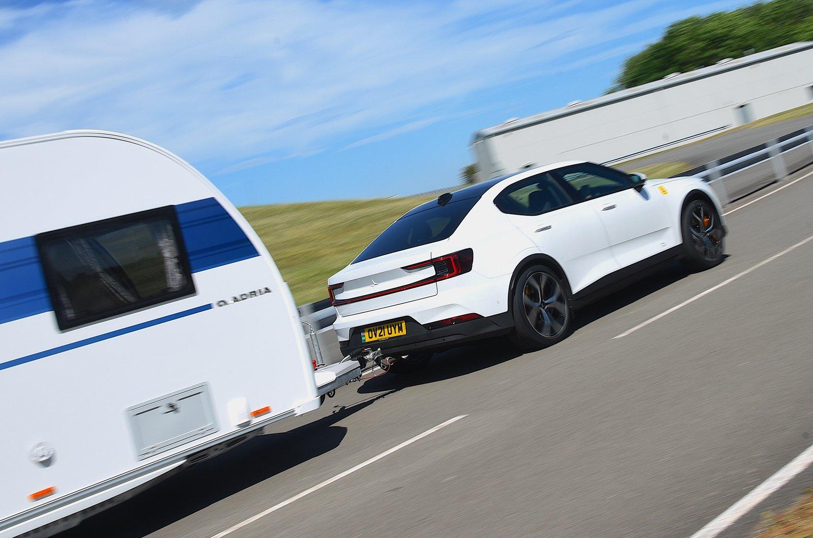 Polestar 2 towing a caravan - rear