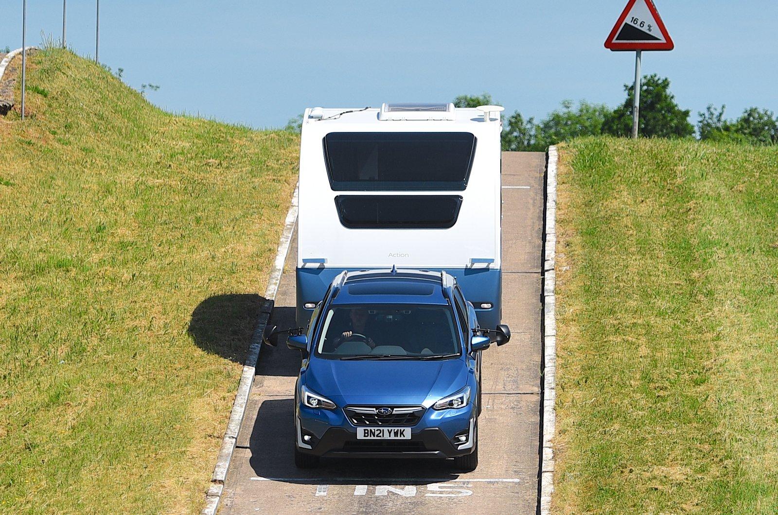 Subaru Forester pulling a caravan