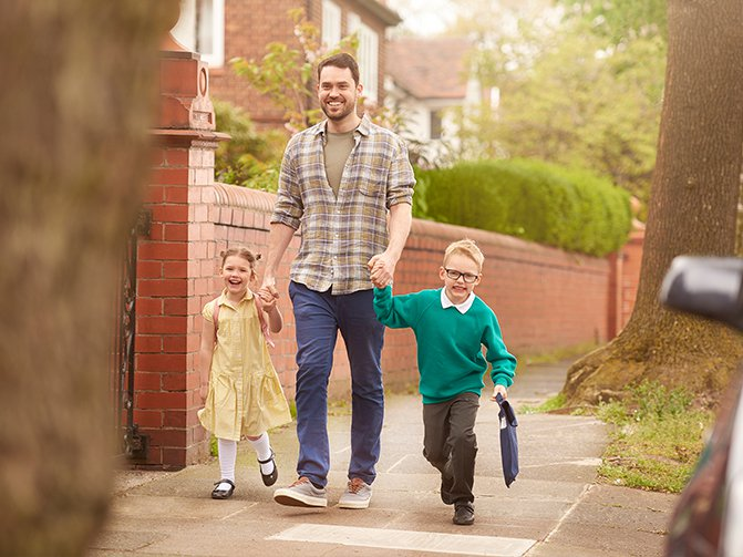 Walking kids to school