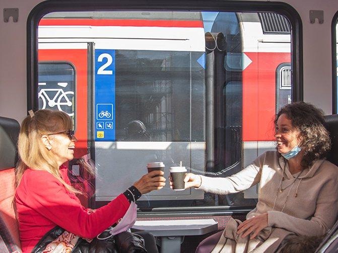 Friends on train