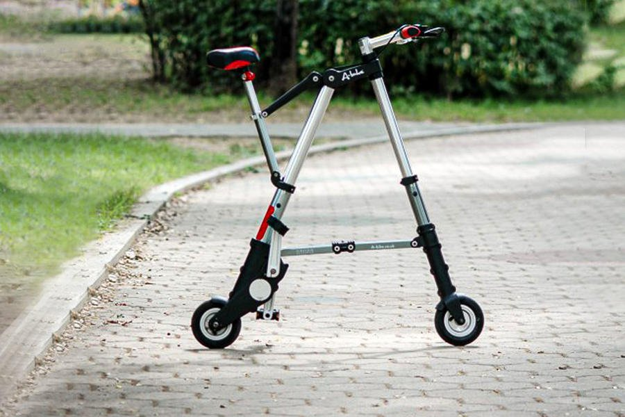 Sinclair A-bike standing upright on path