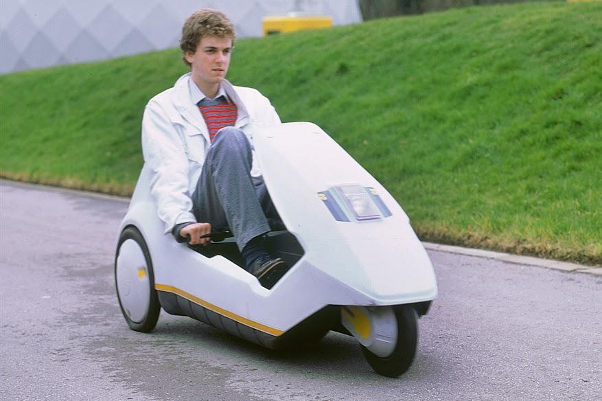 Man riding Sinclair C5
