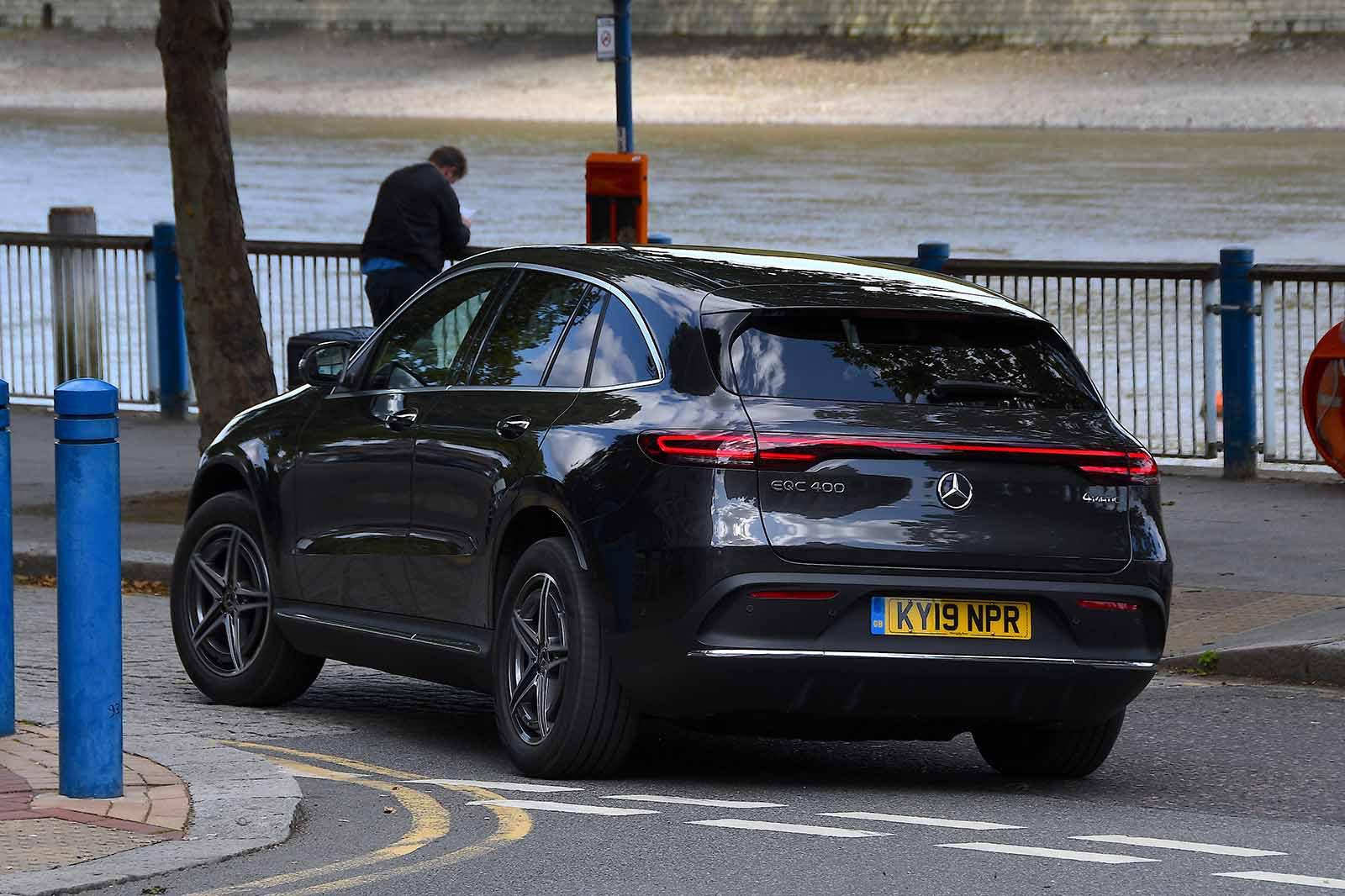 Mercedes EQC 2019 UK rear tracking shot