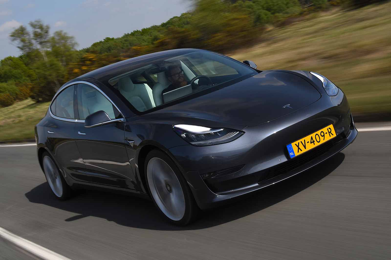 Tesla Model 3 front right tracking shot