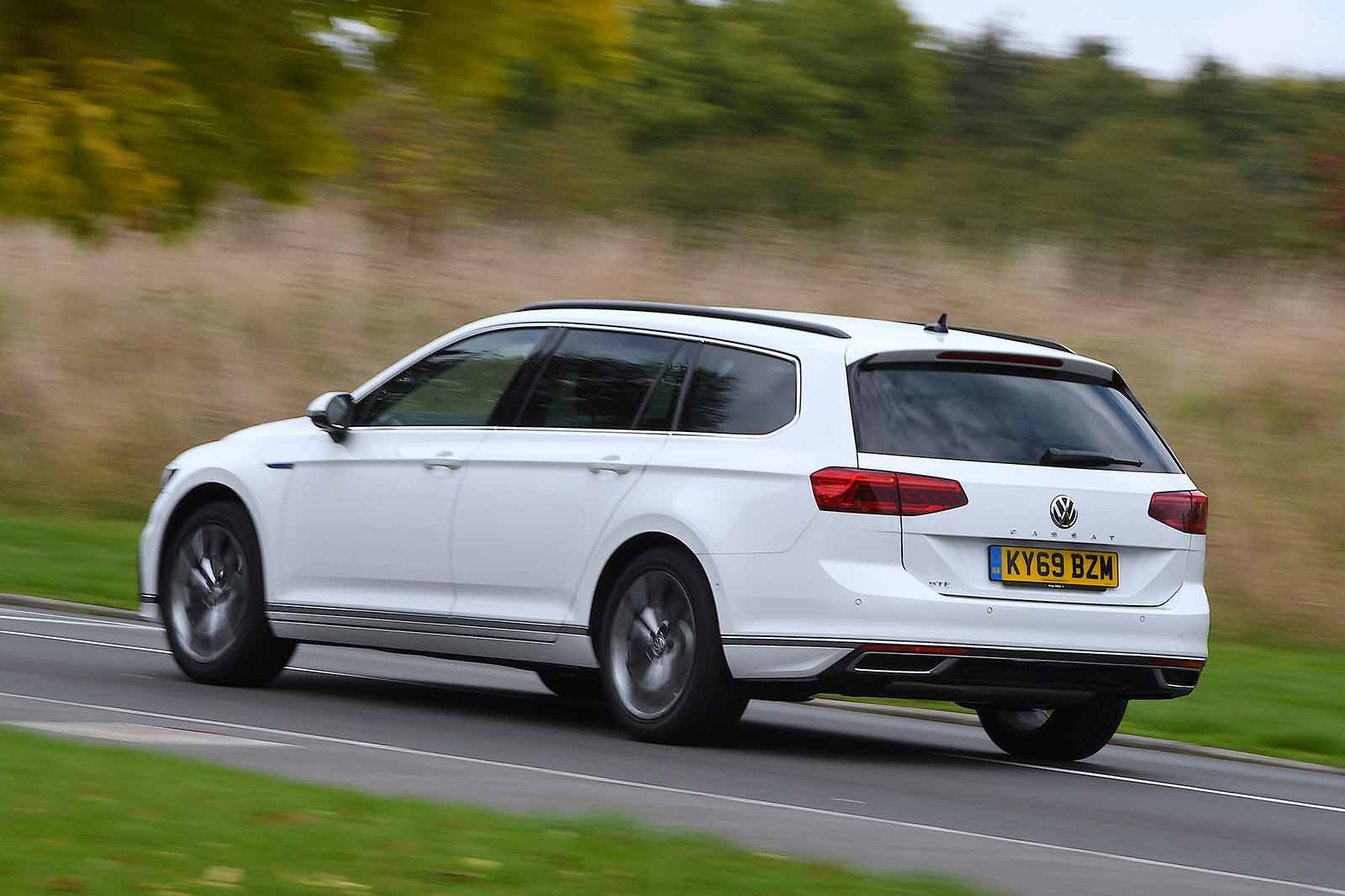 Volkswagen Passat Estate GTE 2019 RHD rear tracking shot
