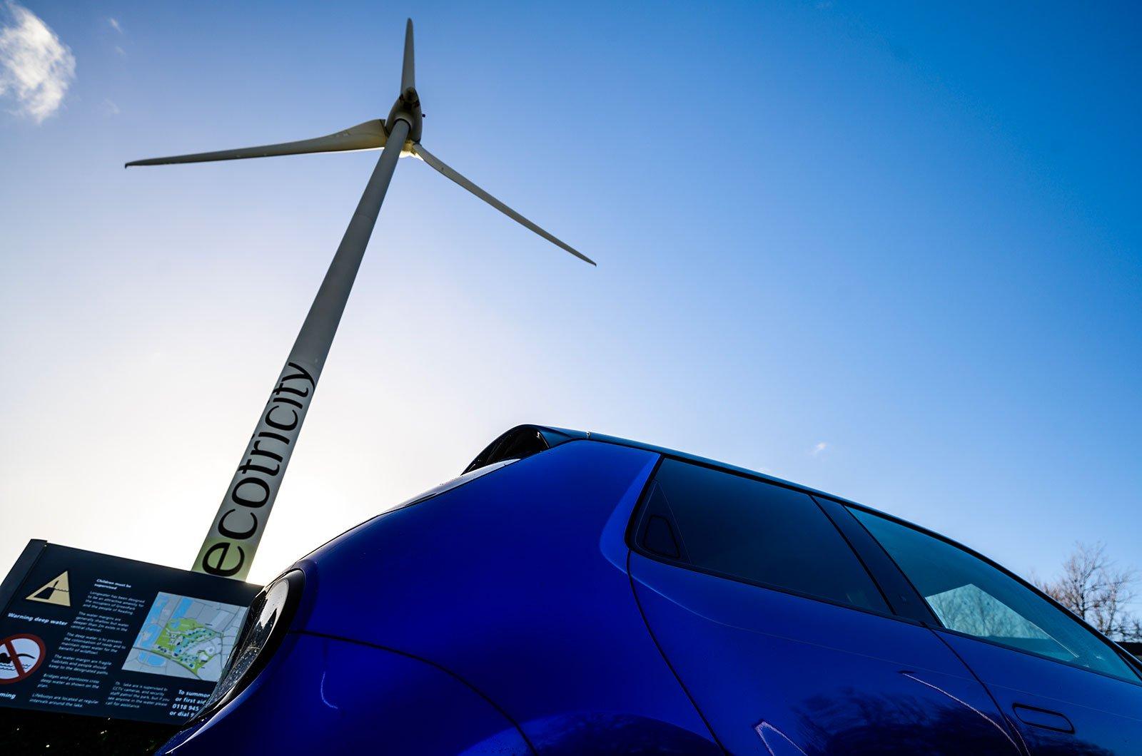 Honda E with wind turbine