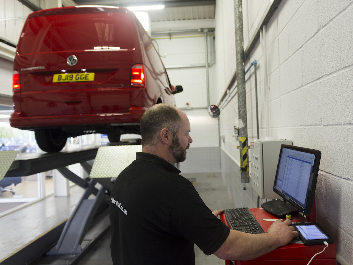 Volkswagen's central vehicle database means any Van Centre technician in the UK can quickly see a van's history.