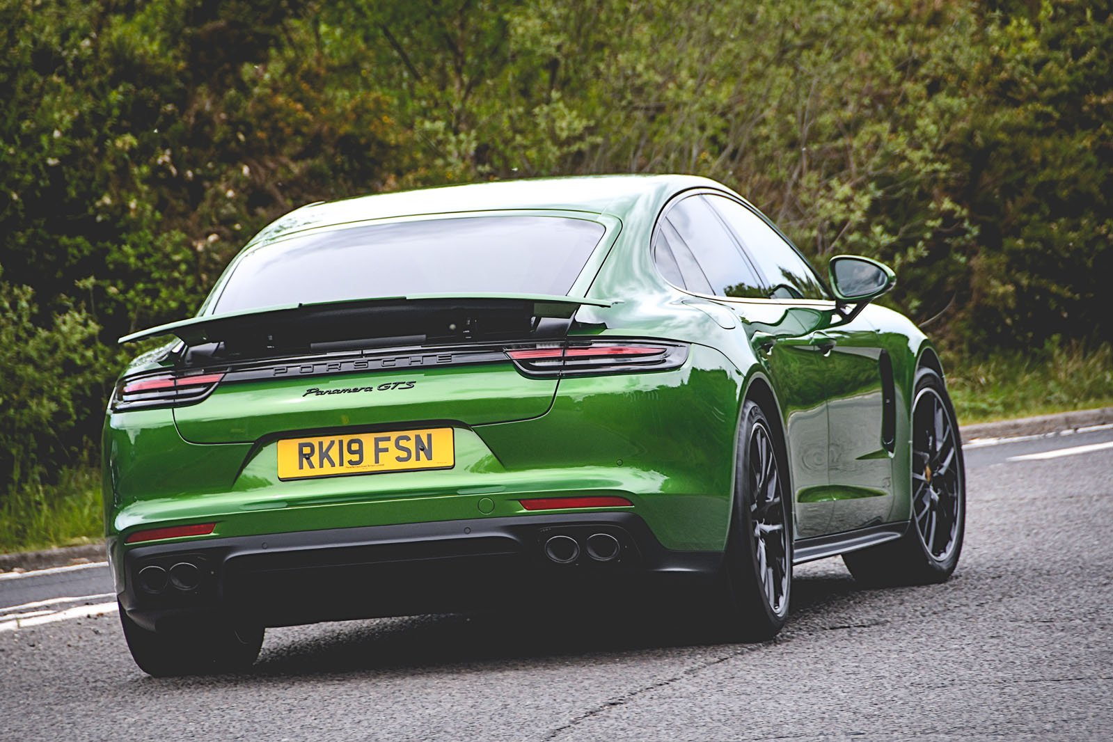 Porsche Panamera GTS 2019 rear cornering shot