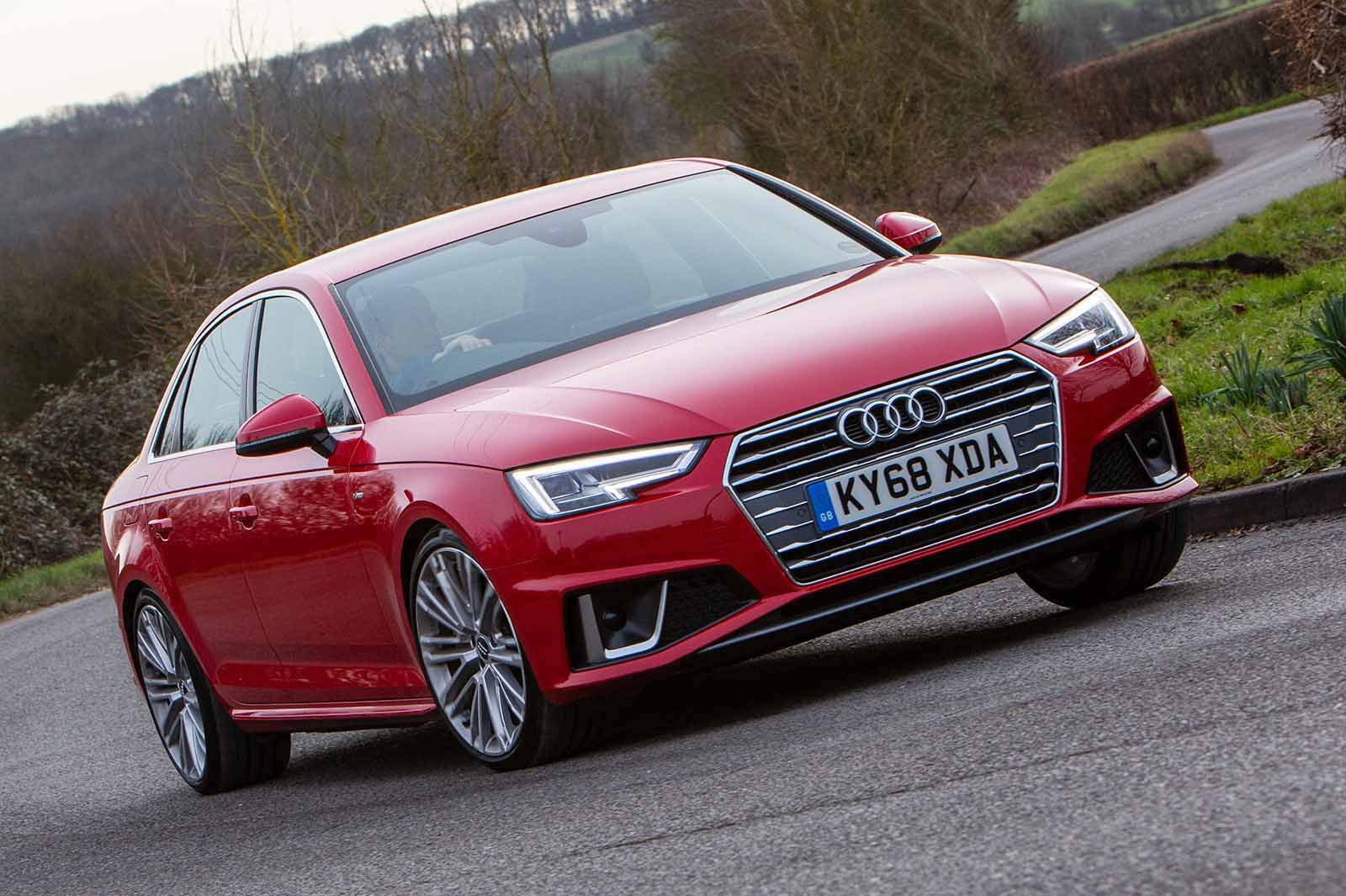 Audi A4 2019 front right cornering shot