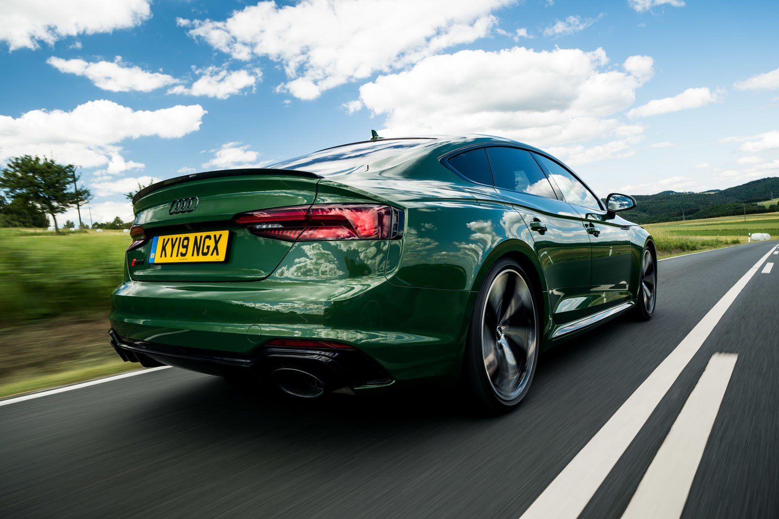 Audi RS5 Sportback 2019 rear low camera tracking shot
